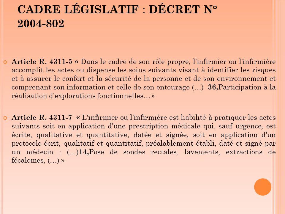 CADRE LÉGISLATIF : DÉCRET N° 2004-802 Article R. 4311-5 « Dans le cadre de son rôle propre, l'infirmier ou l'infirmière accomplit les actes ou dispens