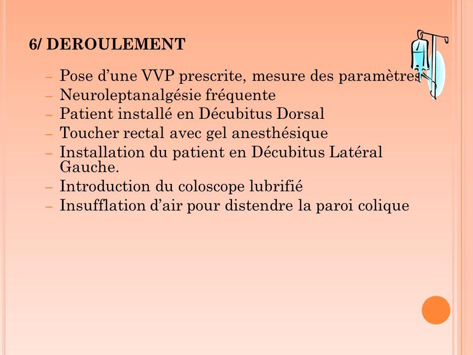 6/ DEROULEMENT – Pose dune VVP prescrite, mesure des paramètres – Neuroleptanalgésie fréquente – Patient installé en Décubitus Dorsal – Toucher rectal