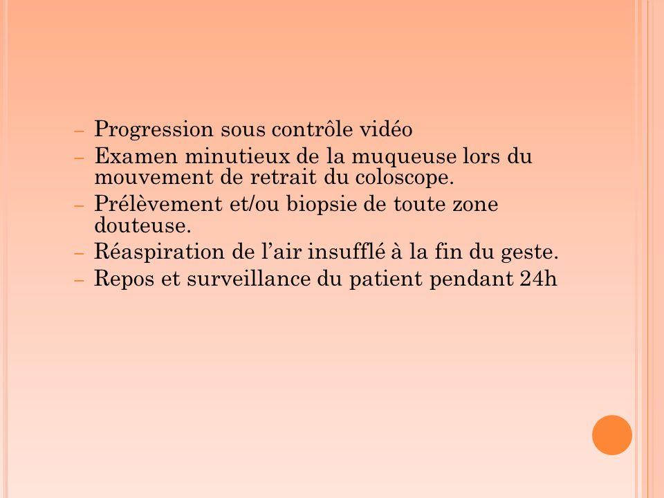 – Progression sous contrôle vidéo – Examen minutieux de la muqueuse lors du mouvement de retrait du coloscope. – Prélèvement et/ou biopsie de toute zo