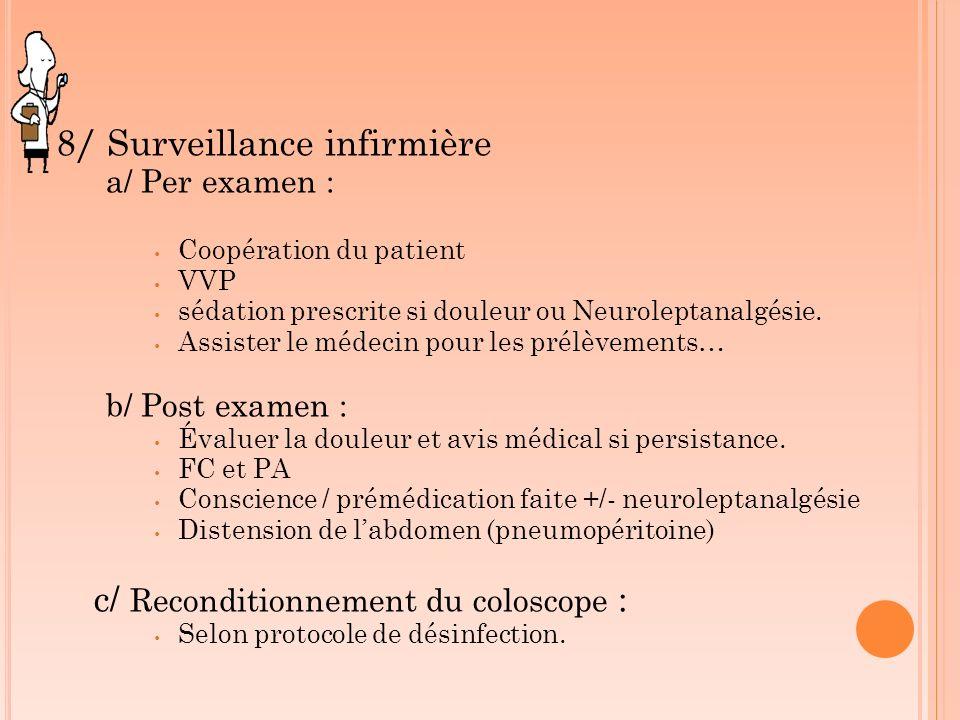 8/ Surveillance infirmière a/ Per examen : Coopération du patient VVP sédation prescrite si douleur ou Neuroleptanalgésie. Assister le médecin pour le