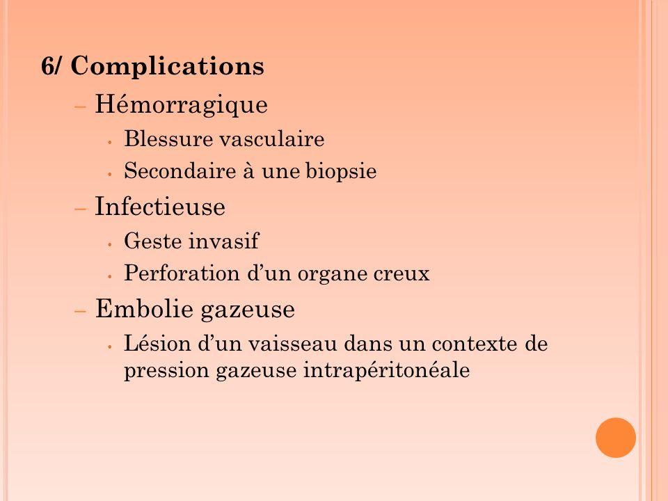 6/ Complications – Hémorragique Blessure vasculaire Secondaire à une biopsie – Infectieuse Geste invasif Perforation dun organe creux – Embolie gazeus