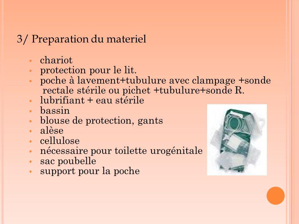 3/ Preparation du materiel chariot protection pour le lit. poche à lavement+tubulure avec clampage +sonde rectale stérile ou pichet +tubulure+sonde R.