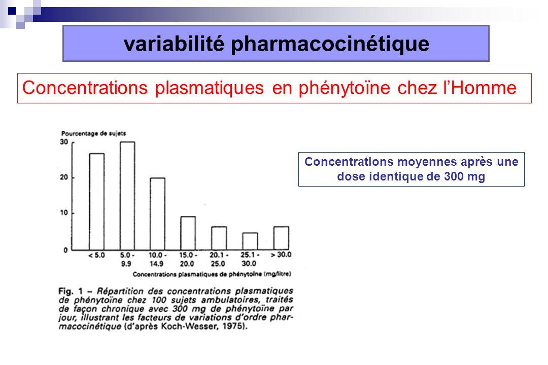Concentrations plasmatiques en phénytoïne chez lHomme variabilité pharmacocinétique Concentrations moyennes après une dose identique de 300 mg