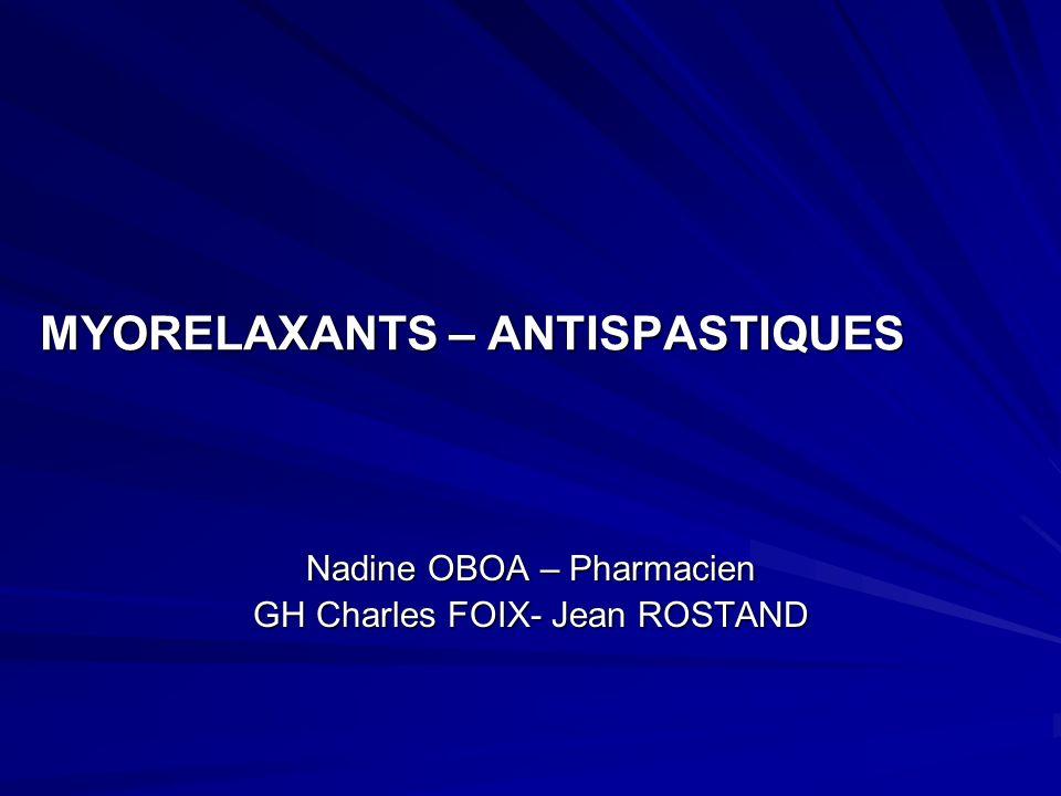 MYORELAXANTS – ANTISPASTIQUES Nadine OBOA – Pharmacien GH Charles FOIX- Jean ROSTAND