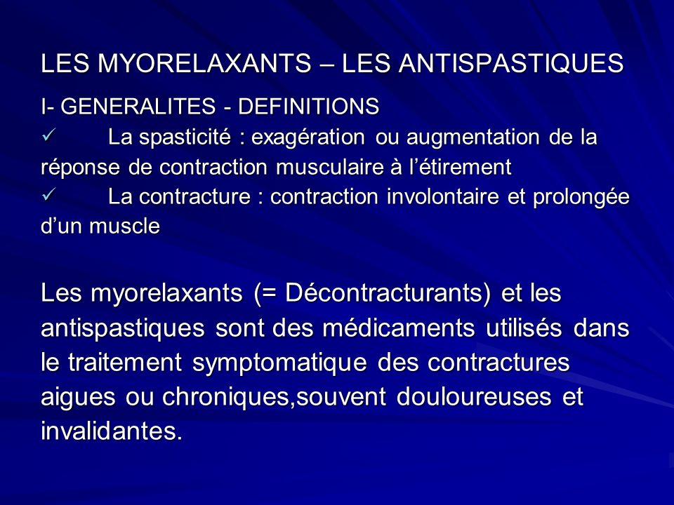 LES MYORELAXANTS – LES ANTISPASTIQUES I- GENERALITES - DEFINITIONS La spasticité : exagération ou augmentation de la La spasticité : exagération ou au