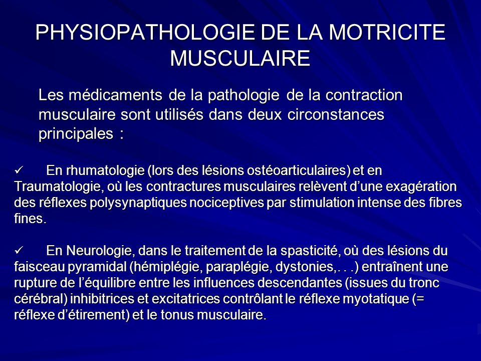 PHYSIOPATHOLOGIE DE LA MOTRICITE MUSCULAIRE Les médicaments de la pathologie de la contraction musculaire sont utilisés dans deux circonstances princi