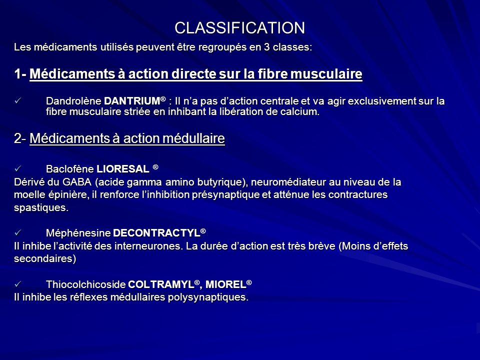 CLASSIFICATION 3- Médicaments à action centrale Les benzodiazépines : connues pour leurs propriétés sédatives, Les benzodiazépines : connues pour leurs propriétés sédatives, anxiolytiques et antiépileptiques, leur action myorelaxante sexprime en agissant sur la moelle épinière en renforçant linhibition pré synaptique du GABA (comme le baclofène) DiazépamVALIUM, le plus actif DiazépamVALIUM ®, le plus actif Tétrazépam MYOLASTAN, le plus utilisé.
