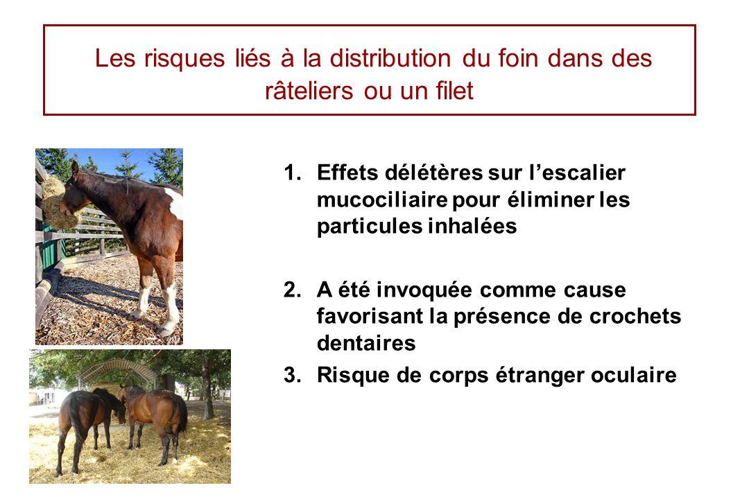 Les risques liés à la distribution du foin dans des râteliers ou un filet 1.Effets délétères sur lescalier mucociliaire pour éliminer les particules i