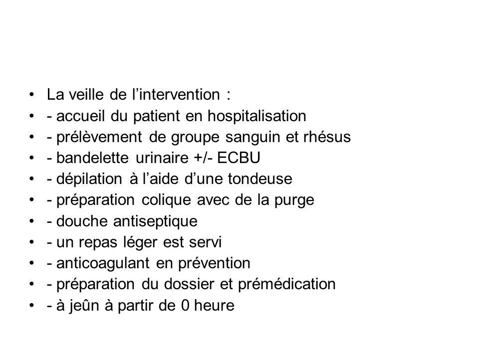 La veille de lintervention : - accueil du patient en hospitalisation - prélèvement de groupe sanguin et rhésus - bandelette urinaire +/- ECBU - dépila