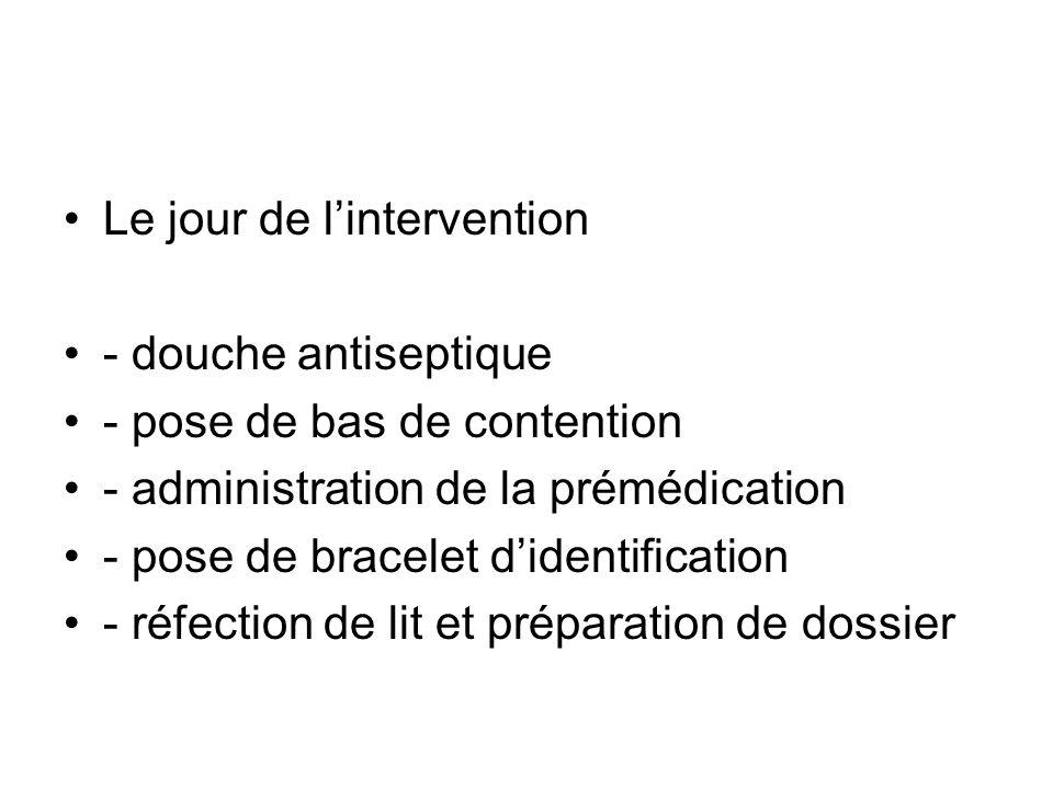 Le jour de lintervention - douche antiseptique - pose de bas de contention - administration de la prémédication - pose de bracelet didentification - r
