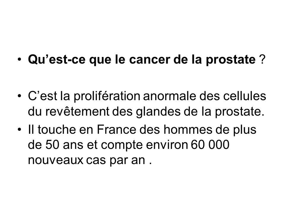 Quest-ce que le cancer de la prostate ? Cest la prolifération anormale des cellules du revêtement des glandes de la prostate. Il touche en France des