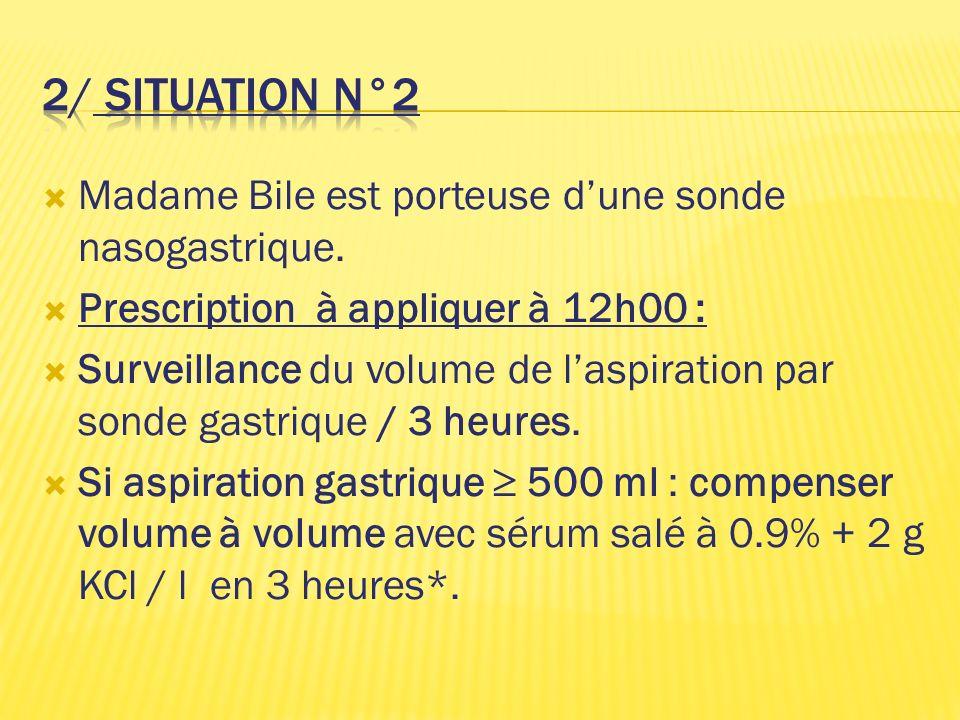 Madame Bile est porteuse dune sonde nasogastrique. Prescription à appliquer à 12h00 : Surveillance du volume de laspiration par sonde gastrique / 3 he