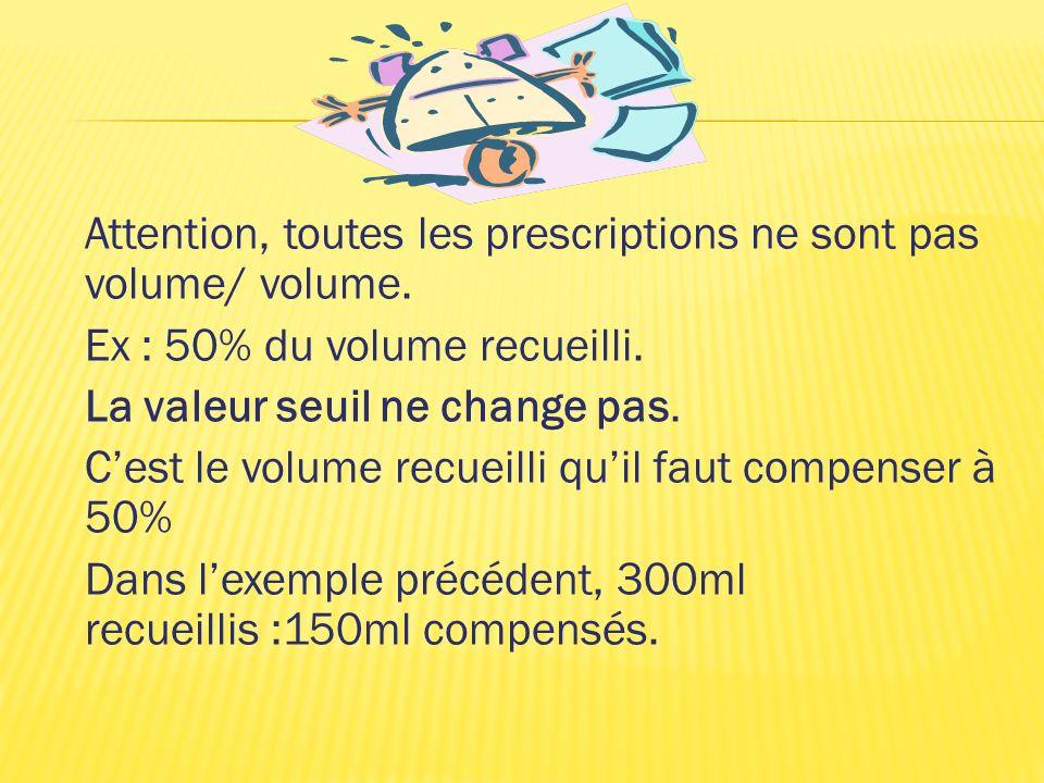Attention, toutes les prescriptions ne sont pas volume/ volume. Ex : 50% du volume recueilli. La valeur seuil ne change pas. Cest le volume recueilli