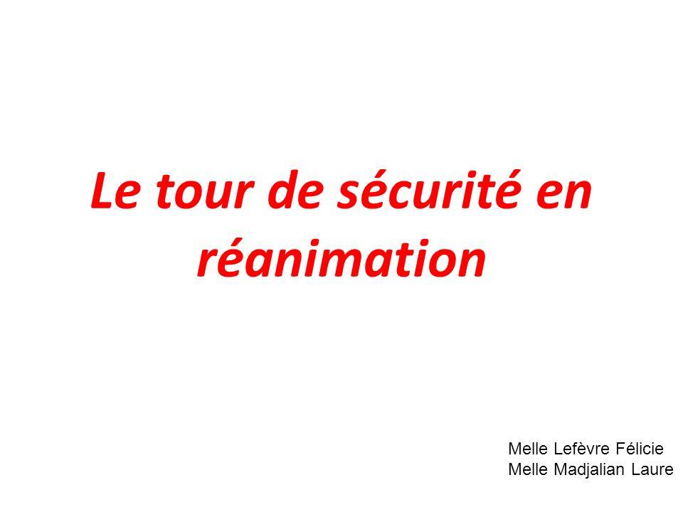 Le tour de sécurité en réanimation Melle Lefèvre Félicie Melle Madjalian Laure