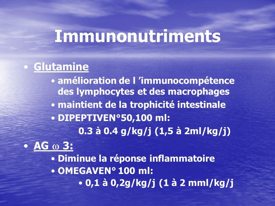 Immunonutriments Glutamine amélioration de l immunocompétence des lymphocytes et des macrophages maintient de la trophicité intestinale DIPEPTIVEN°50,