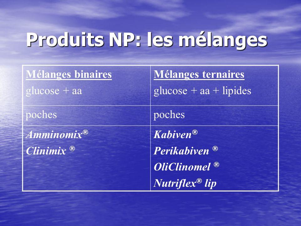 Produits NP: les mélanges Mélanges binaires glucose + aa Mélanges ternaires glucose + aa + lipides poches Amminomix ® Clinimix ® Kabiven ® Perikabiven