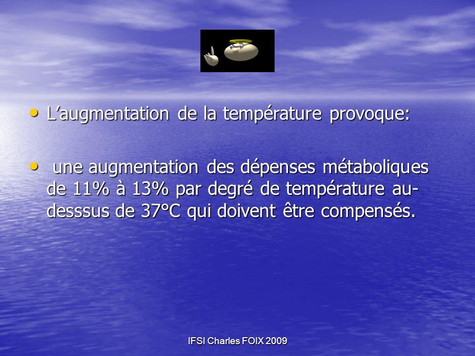IFSI Charles FOIX 2009 Laugmentation de la température provoque: Laugmentation de la température provoque: une augmentation des dépenses métaboliques