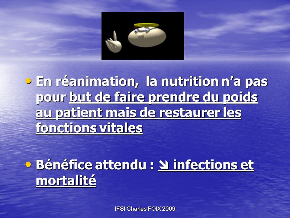 IFSI Charles FOIX 2009 En réanimation, la nutrition na pas pour but de faire prendre du poids au patient mais de restaurer les fonctions vitales En ré