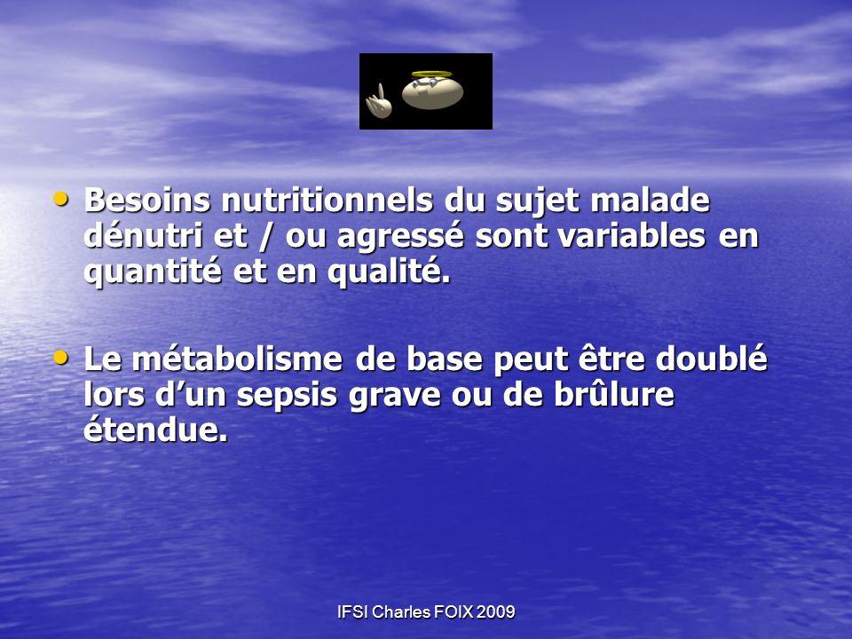 IFSI Charles FOIX 2009 Besoins nutritionnels du sujet malade dénutri et / ou agressé sont variables en quantité et en qualité. Besoins nutritionnels d
