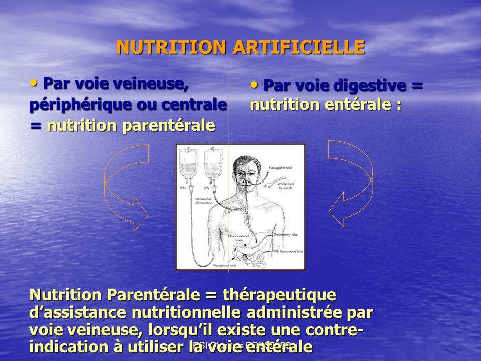 IFSI Charles FOIX 2009 NUTRITION ARTIFICIELLE Par voie veineuse, Par voie veineuse, périphérique ou centrale = nutrition parentérale Nutrition Parenté