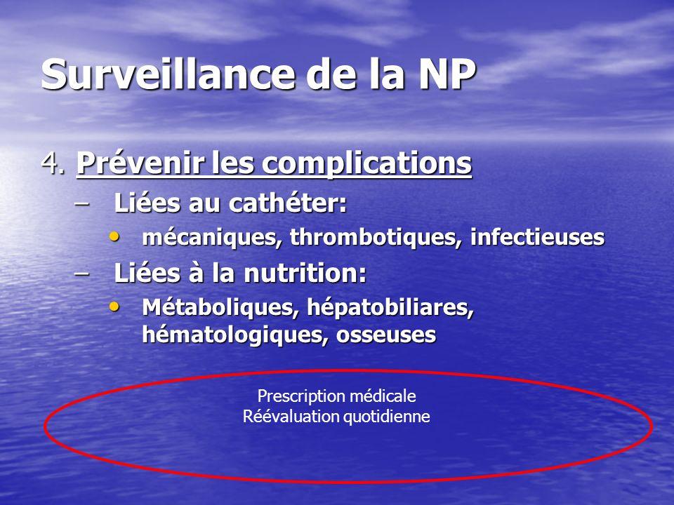 Surveillance de la NP 4. Prévenir les complications –Liées au cathéter: mécaniques, thrombotiques, infectieuses mécaniques, thrombotiques, infectieuse
