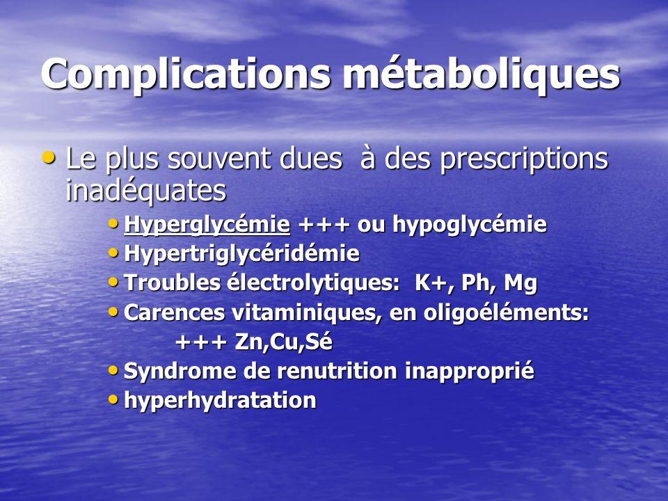 Complications métaboliques Le plus souvent dues à des prescriptions inadéquates Le plus souvent dues à des prescriptions inadéquates Hyperglycémie +++