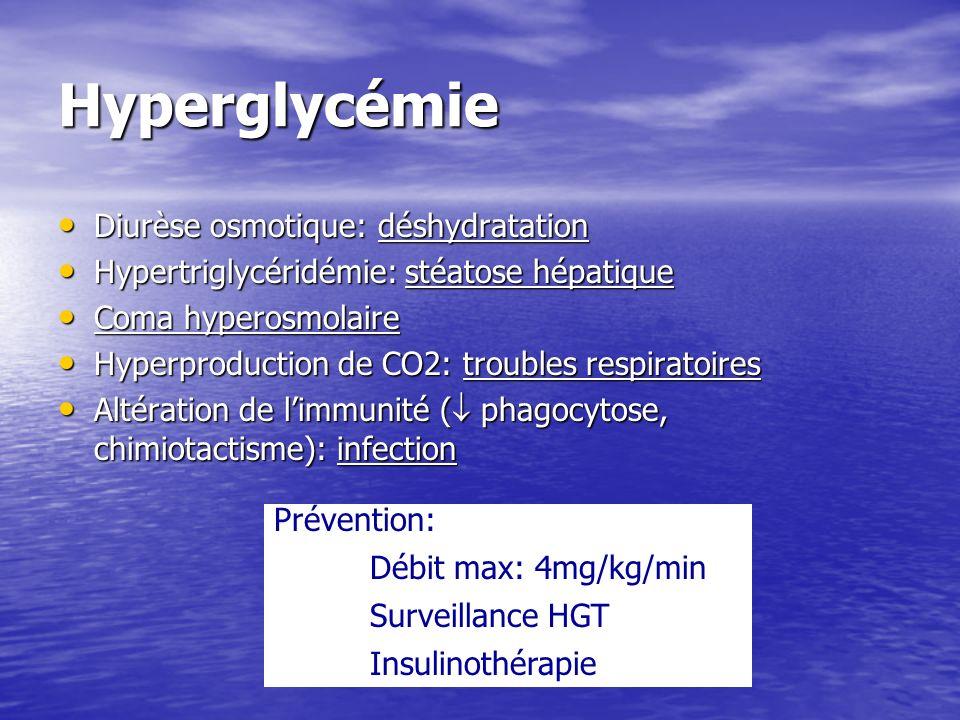 Hyperglycémie Diurèse osmotique: déshydratation Diurèse osmotique: déshydratation Hypertriglycéridémie: stéatose hépatique Hypertriglycéridémie: stéat