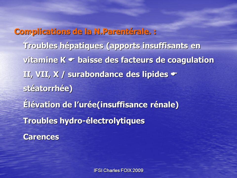 IFSI Charles FOIX 2009 Complications de la N.Parentérale. : Troubles hépatiques (apports insuffisants en vitamine K baisse des facteurs de coagulation