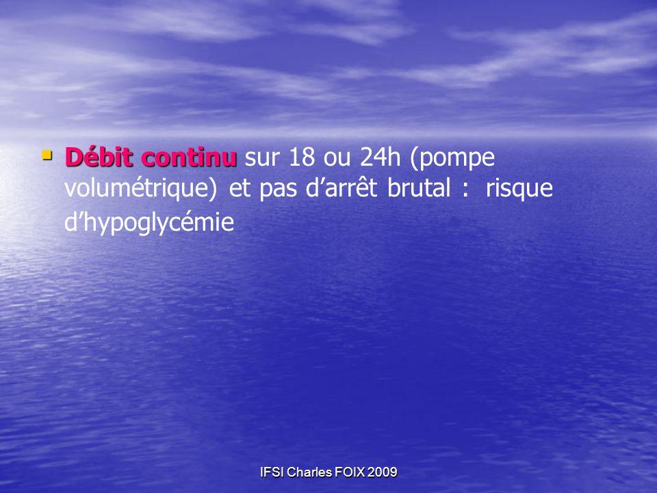 IFSI Charles FOIX 2009 Débit continu Débit continu sur 18 ou 24h (pompe volumétrique) et pas darrêt brutal : risque dhypoglycémie