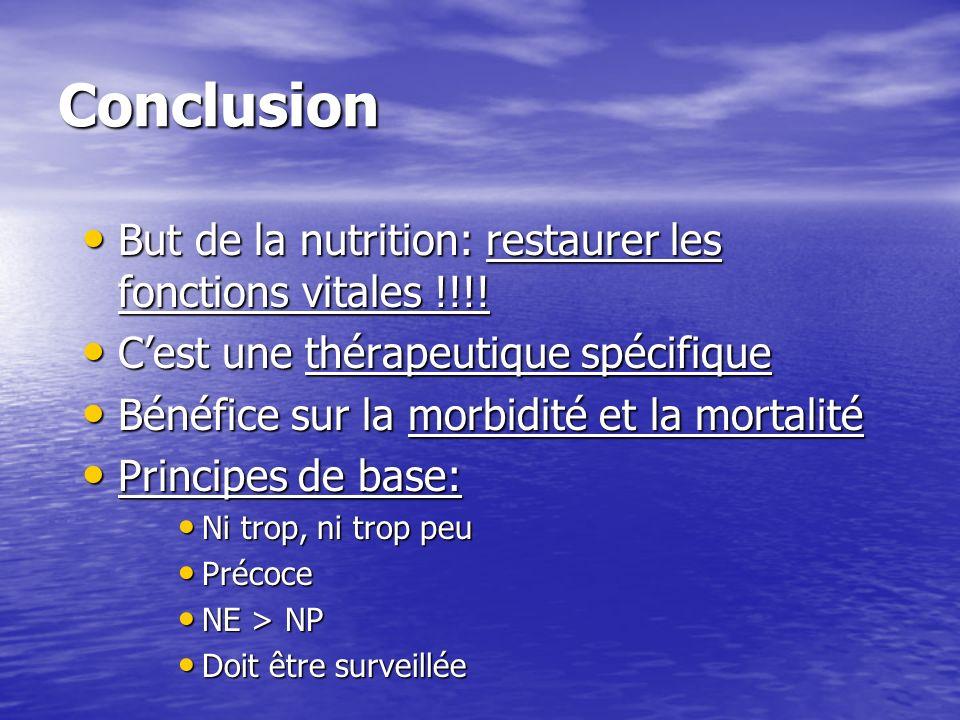 Conclusion But de la nutrition: restaurer les fonctions vitales !!!! But de la nutrition: restaurer les fonctions vitales !!!! Cest une thérapeutique