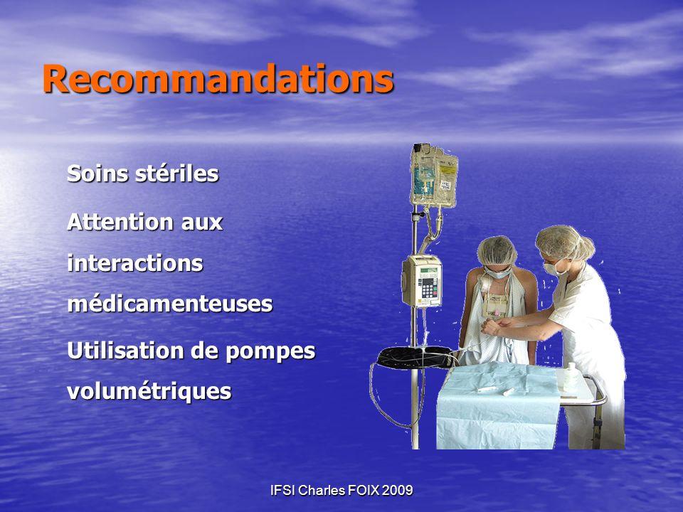 IFSI Charles FOIX 2009 Recommandations Soins stériles Attention aux interactions médicamenteuses Utilisation de pompes volumétriques