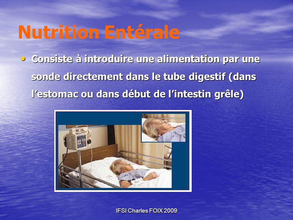 IFSI Charles FOIX 2009 Nutrition Entérale Consiste à introduire une alimentation par une sonde directement dans le tube digestif (dans lestomac ou dan