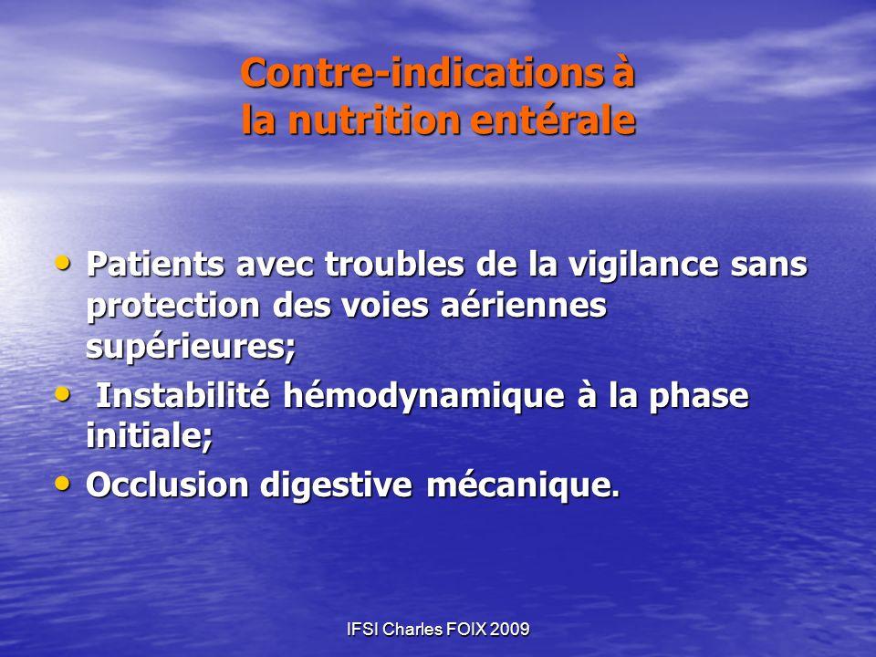 IFSI Charles FOIX 2009 Contre-indications à la nutrition entérale Patients avec troubles de la vigilance sans protection des voies aériennes supérieur