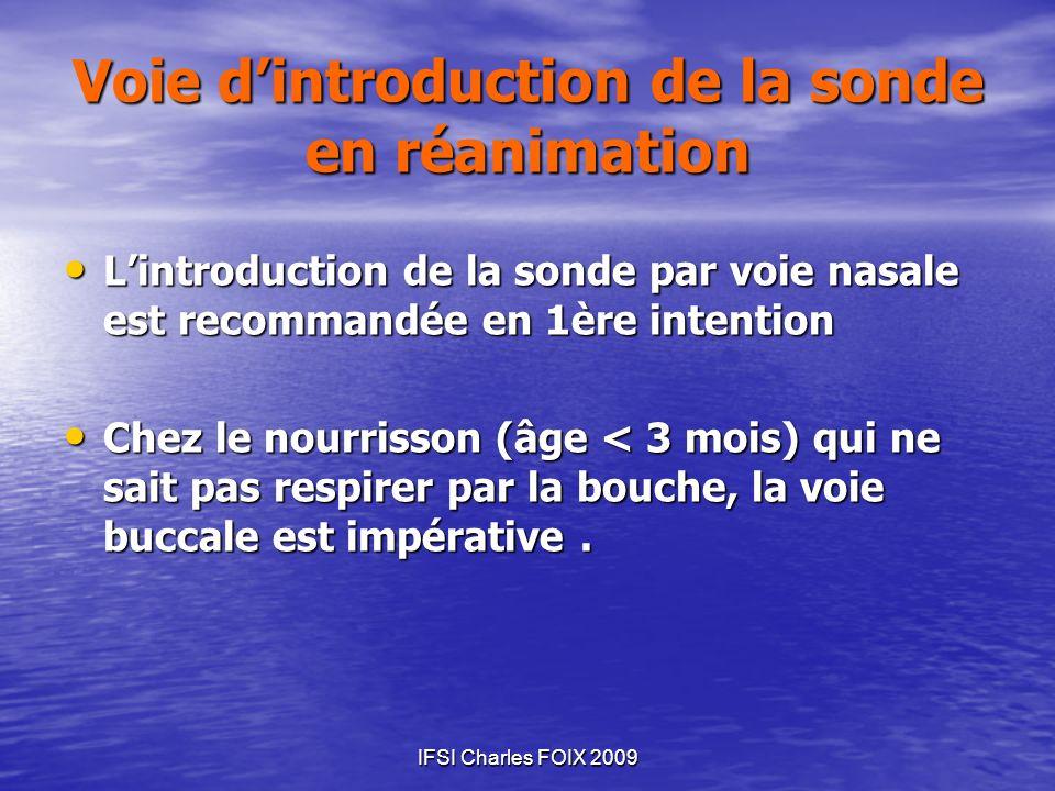 IFSI Charles FOIX 2009 Lintroduction de la sonde par voie nasale est recommandée en 1ère intention Lintroduction de la sonde par voie nasale est recom