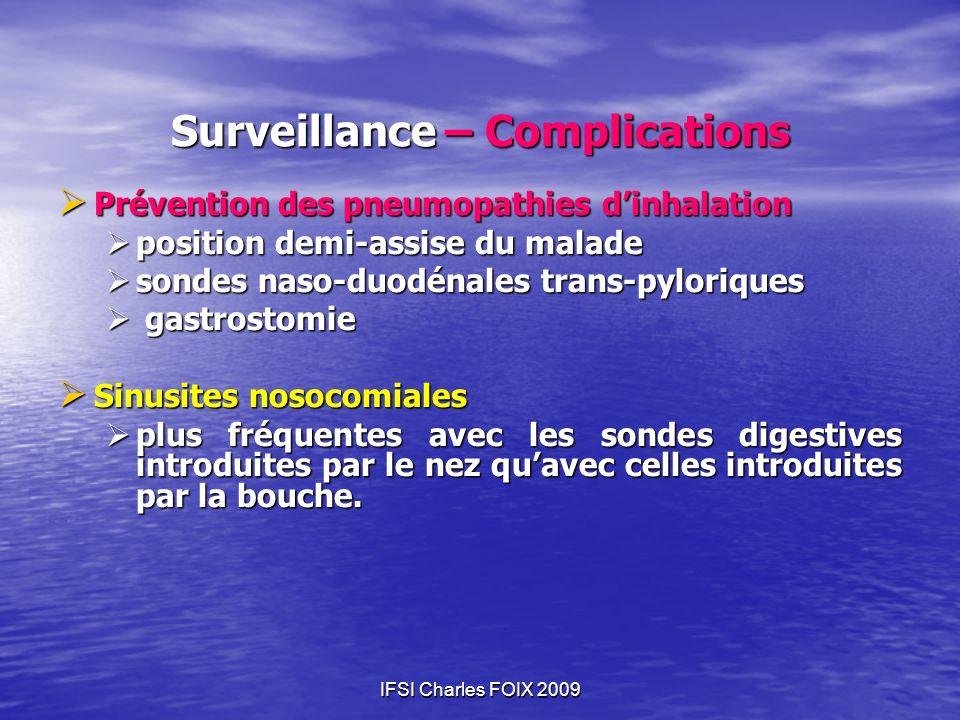 IFSI Charles FOIX 2009 Surveillance – Complications Prévention des pneumopathies dinhalation Prévention des pneumopathies dinhalation position demi-as