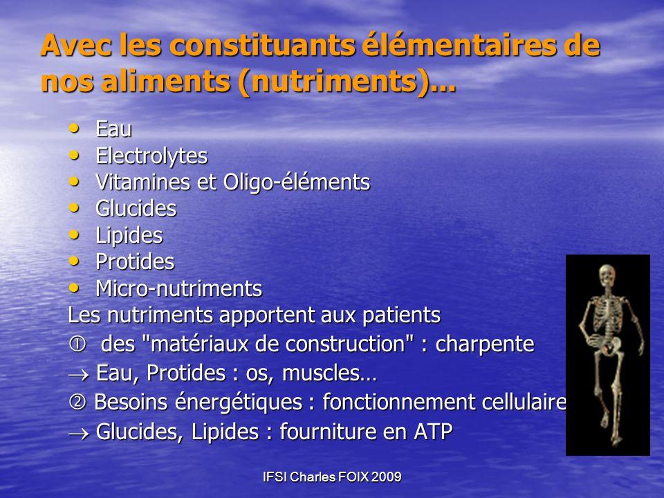 IFSI Charles FOIX 2009 Avec les constituants élémentaires de nos aliments (nutriments)... Eau Eau Electrolytes Electrolytes Vitamines et Oligo-élément