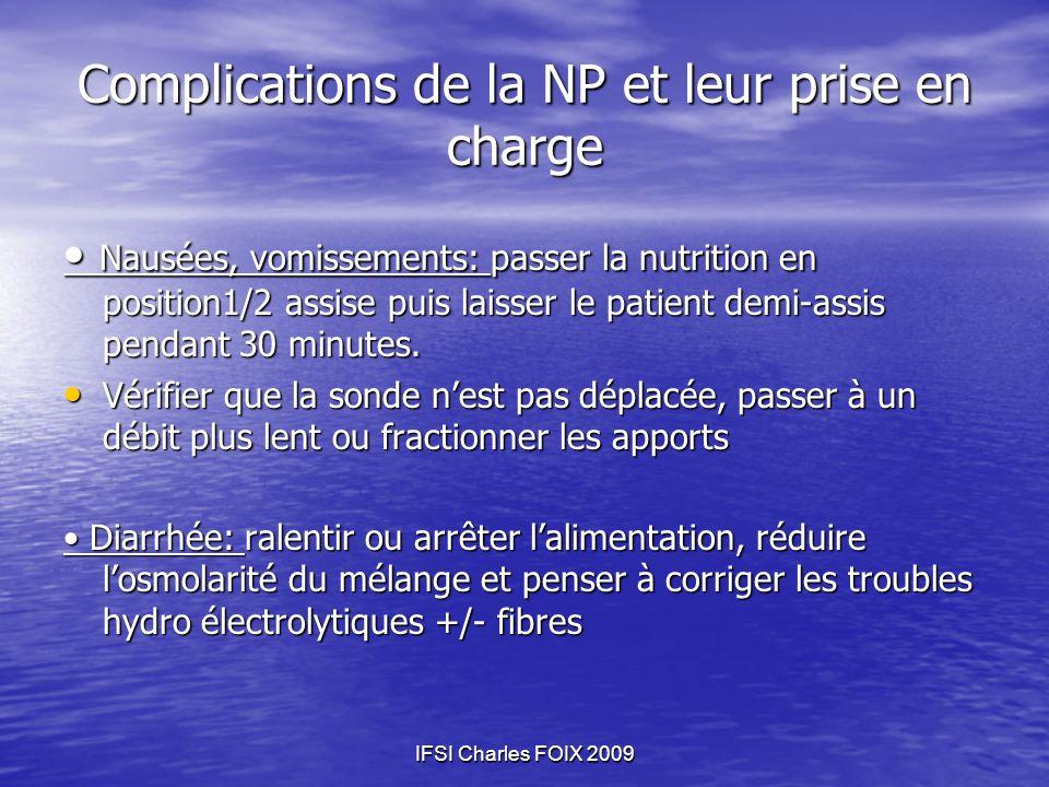 Complications de la NP et leur prise en charge Nausées, vomissements: passer la nutrition en position1/2 assise puis laisser le patient demi-assis pen