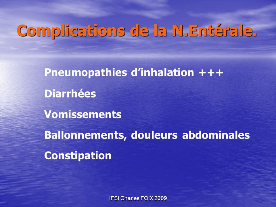 IFSI Charles FOIX 2009 Pneumopathies dinhalation +++ Diarrhées Vomissements Ballonnements, douleurs abdominales Constipation Complications de la N.Ent
