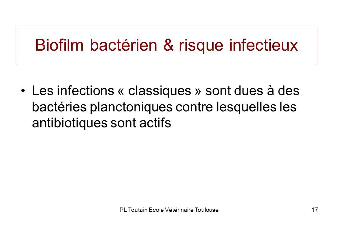 PL Toutain Ecole Vétérinaire Toulouse17 Biofilm bactérien & risque infectieux Les infections « classiques » sont dues à des bactéries planctoniques co