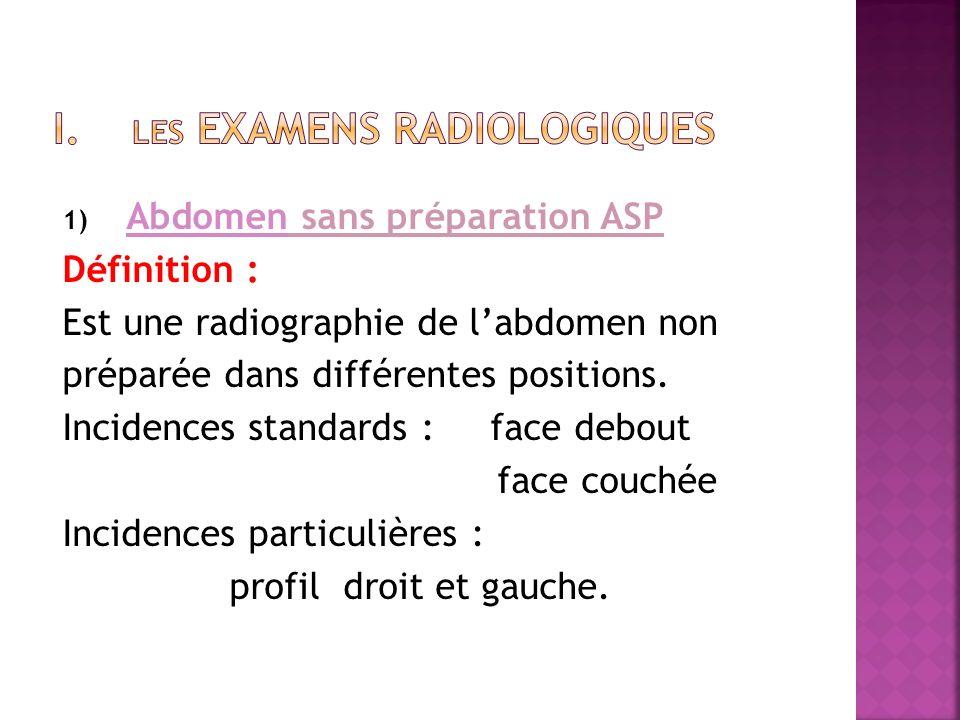 1) Abdomen sans préparation ASP Définition : Est une radiographie de labdomen non préparée dans différentes positions. Incidences standards : face deb