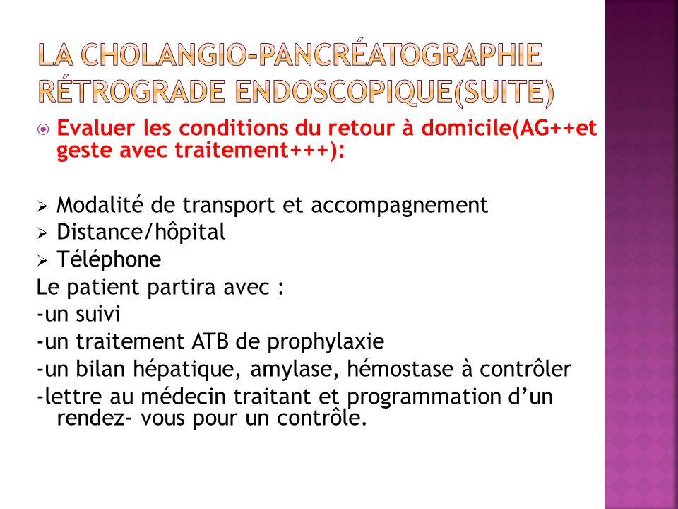 Evaluer les conditions du retour à domicile(AG++et geste avec traitement+++): Modalité de transport et accompagnement Distance/hôpital Téléphone Le pa