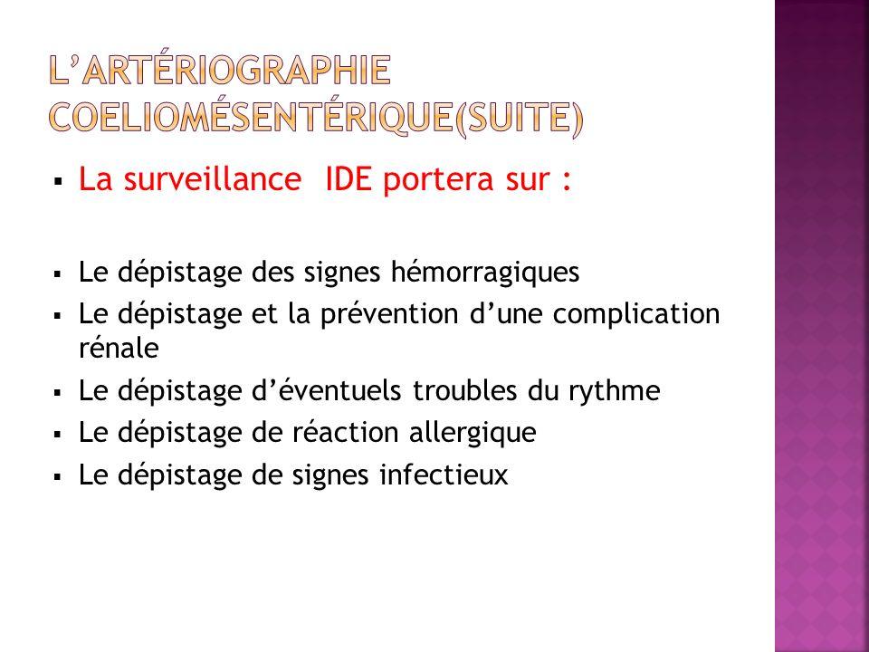 La surveillance IDE portera sur : Le dépistage des signes hémorragiques Le dépistage et la prévention dune complication rénale Le dépistage déventuels troubles du rythme Le dépistage de réaction allergique Le dépistage de signes infectieux