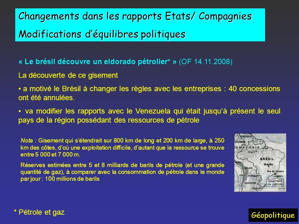 Changements dans les rapports États/ Compagnies « LEquateur* serre la vis aux pétroliers » : Doublement des prélèvements de lEtat de 50 à 99 %. Vers u
