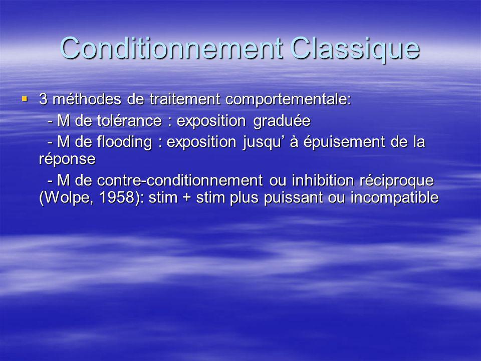 Conditionnement Classique 3 méthodes de traitement comportementale: 3 méthodes de traitement comportementale: - M de tolérance : exposition graduée -