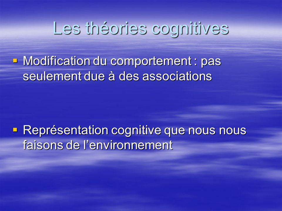 Les théories cognitives Modification du comportement : pas seulement due à des associations Modification du comportement : pas seulement due à des ass