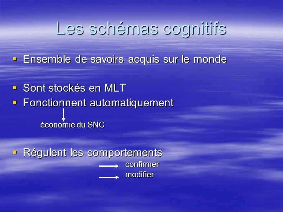 Les schémas cognitifs Ensemble de savoirs acquis sur le monde Ensemble de savoirs acquis sur le monde Sont stockés en MLT Sont stockés en MLT Fonction