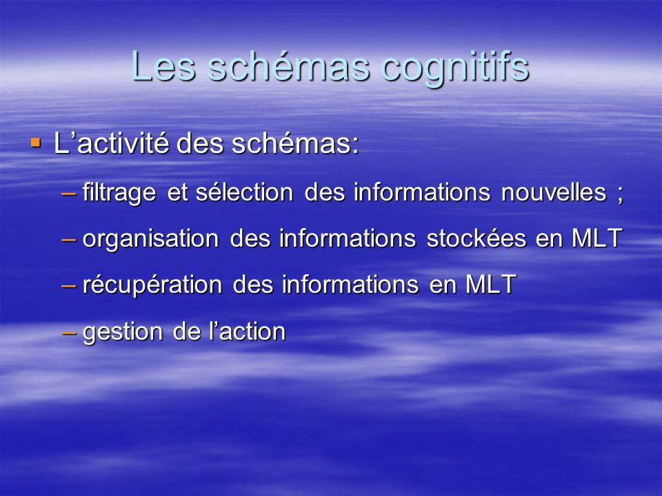 Les schémas cognitifs Lactivité des schémas: Lactivité des schémas: –filtrage et sélection des informations nouvelles ; –organisation des informations
