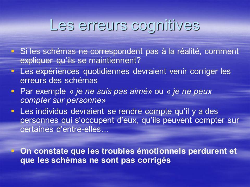 Les erreurs cognitives Si les schémas ne correspondent pas à la réalité, comment expliquer quils se maintiennent? Les expériences quotidiennes devraie