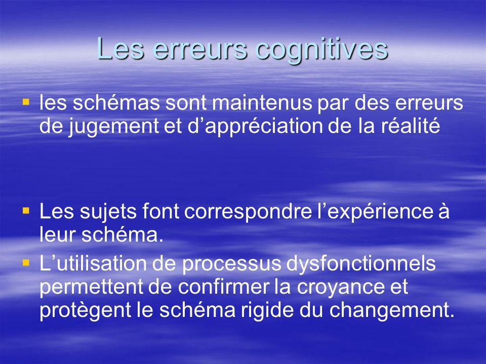Les erreurs cognitives les schémas sont maintenus par des erreurs de jugement et dappréciation de la réalité Les sujets font correspondre lexpérience