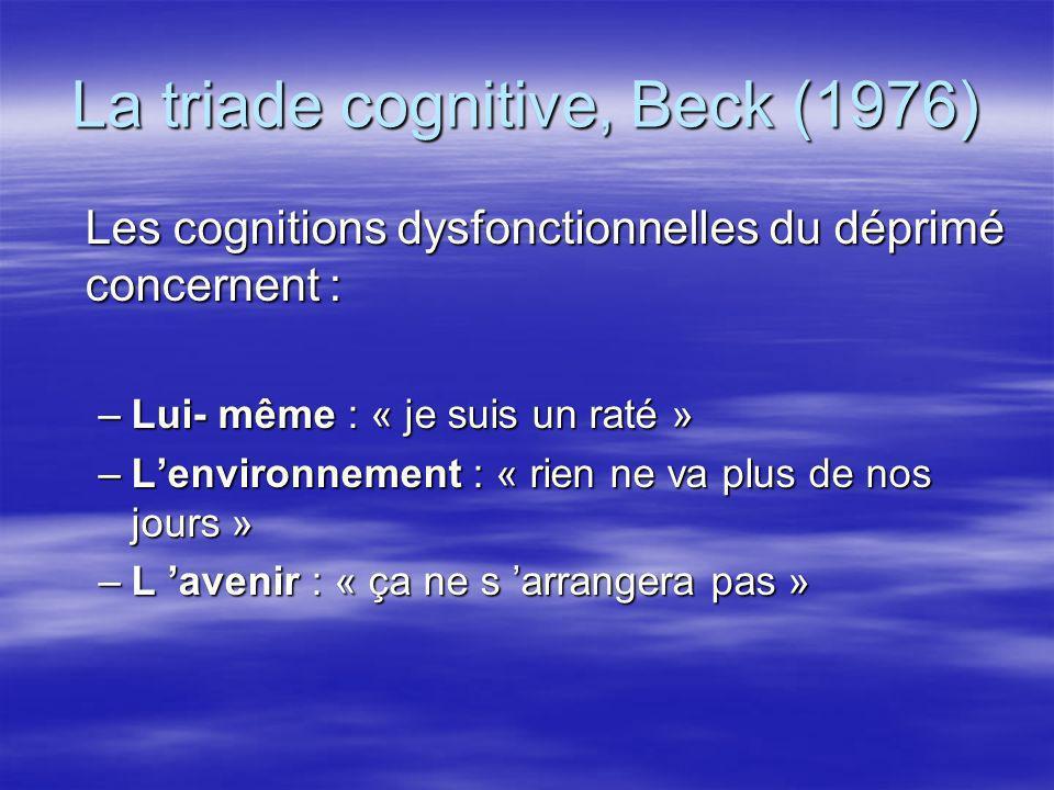 La triade cognitive, Beck (1976) Les cognitions dysfonctionnelles du déprimé concernent : –Lui- même : « je suis un raté » –Lenvironnement : « rien ne